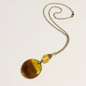 Gorgeous Golden Brown Dragons Veins Agate Necklace